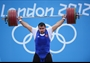 Ruslan Albegov of Russia competes in the men's +105kg Weightlifting final