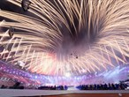 Explosion of light marks the end of a spectacular ceremony