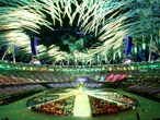 Fireworks light up the Olympic Stadium