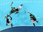 Eduarda Amorim of Brazil leaps to shoot in women's Handball