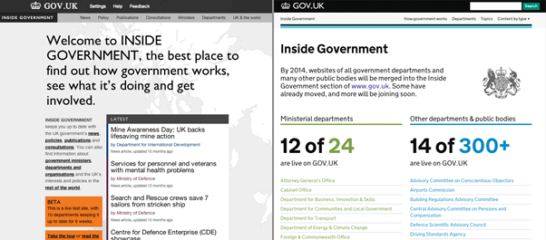 Inside Governement homepage a year ago and today