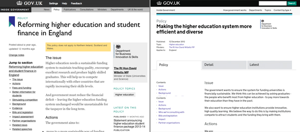 Higher Education policy page a year ago and today