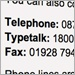 Closeup image of the words telephone, typetalk and fax