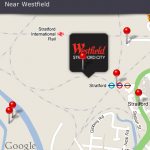 Map of Stratford showing Westfield shopping centre