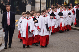 Choirboys at an Easter celebration at Downing St