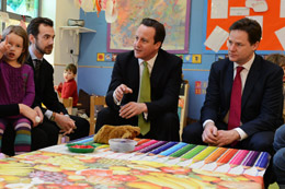 David Cameron and Nick Clegg at a childcare centre in Wandsmorth - crown copyright