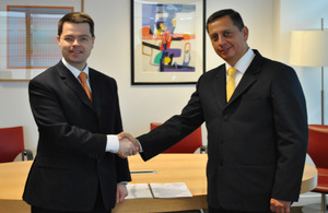 Security Minister James Brokenshire and Peruvian Vice Interior Minister Ivan Vega Loncharich