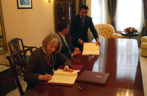 Theresa May with Mazen Homoud, the Jordanian Ambassador to the UK