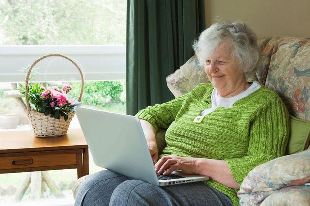 Older lady using laptop