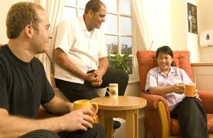 NHS staff chatting