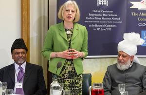 Theresa May at an event marking the hundredth year of the Ahmadiyya Muslim Association