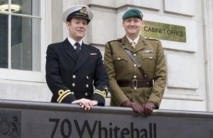 Civil service reservists outside 70 Whitehall