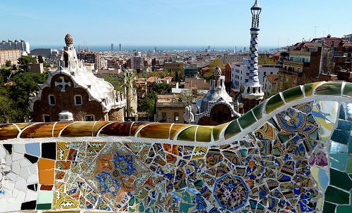 View of Barcelona from the top of the Gaudi house