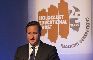 Prime Minister David Cameron delivering a speech at the Holocaust Educational Trust
