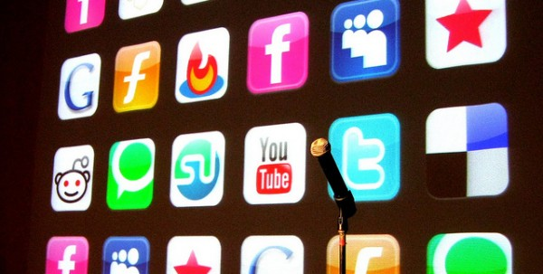Social media icons with microphone