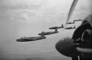 Vickers Wellington Mark IAs and ICs of No 75 (New Zealand) Squadron flying in loose formation over the East Anglian countryside (library image) [Picture: Crown copyright, IWM (CH467)]