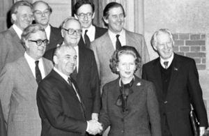 Margaret Thatcher shaking hands with Mikhail Gorbachev in 1984