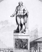 Black and white sketch of Robert Milligan's statue