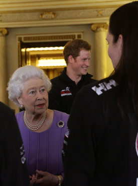 The Queen and Prince Harry at the South Pole reception