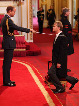 Headteacher Sir Kenneth Gibson from Jarrow receives his Knighthood from the Duke of Cambridge, during an Investiture ceremony at Buckingham Palace, London.