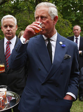 The Prince of Wales samples some Duchy beer