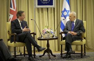David Cameron and Shimon Peres