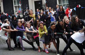 Tug-of-war at a street party outside Number 10