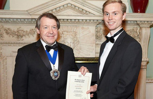 The Rt. Hon Roger Gifford, the former Lord Mayor of the City of London and the Mansion House Scholar Jockum Backman