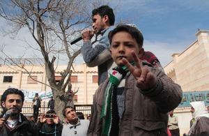Syria. Demonstration in Menbej , Aleppo countryside, 8 March 2013. Credit Basma.