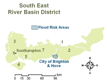 South East River Basin District boundaries showing Flood Risk Areas