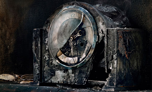 Fire Kills campaign - burnt out clock