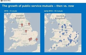 Mutuals map showing number of mutuals in UK.