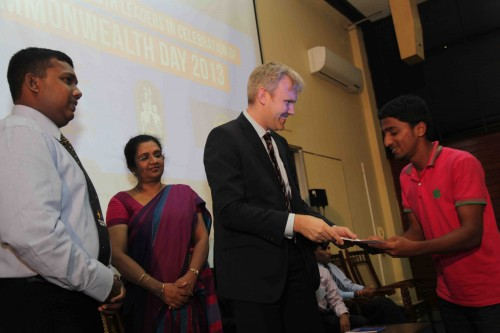 Awarding certificates at the closing ceremony of Commonwealth workshop for Youth Leaders in Sri Lanka
