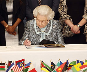 Her Majesty the Queen signs the Commonwealth Charter