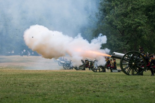 Members of The King's Troop Royal Horse Artillery fire a 41-gun salute in Green Park to welcome the newborn prince [Picture: Sergeant Adrian Harlen, Crown copyright]
