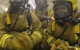 The Ship's Company of HMS Diamond undertake firefighting drills