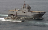FS Henaff (Left), HMS Argyll (centre) and FS Mistral (right) undertaking exercises off the West Coast of Africa.