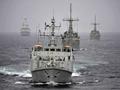HMS Shoreham leads American minehunters USS Dextrous and Sentry through the Strait of Hormuz with HMS Diamond providing escort. Picture: PO(MTO) Chris Weissenborn, RNZN