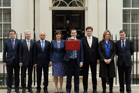 Chancellor and Treasury team with budget Box