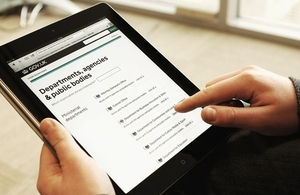 GOV.UK 'Departments, agencies and public bodies' page on an iPad