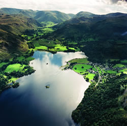 Aerial view over Ullswater