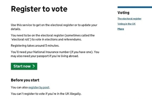 Register to vote webpage