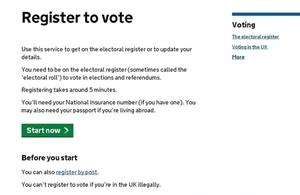 Register to vote webpage
