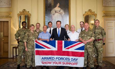 Reservists from all 3 services with Prime Minister David Cameron