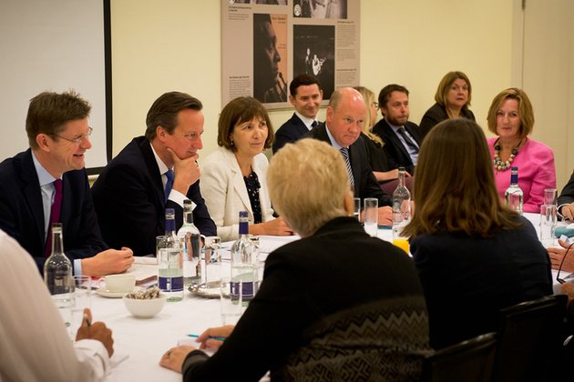 David Cameron and Greg Clark at a local growth round table meeting.