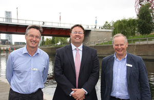 Richard Parry, chief executive of the Canal & River Trust Centre; Dan Rogerson, Water Minister; Tony Hales, chairman of the Canal & River Trust