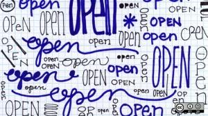 The word open written multiple times