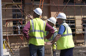 Builders on a building site.
