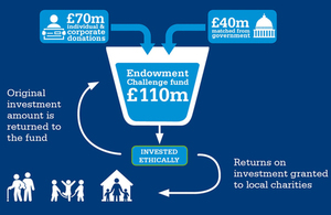 diagram showing how the £110m Endowment Challenge Fund works