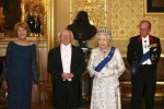 President of Ireland Michael D. Higgins, his wife Sabina Coyne, Britain's Queen Elizabeth II and Prince Philip, Duke of Edinburgh pose for a photograph ahead of a state banquet in Windsor